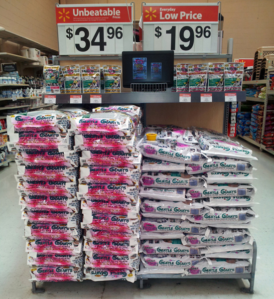 Walmart display of Gentle Giants dog food