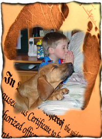 Child and dog say their prayers together